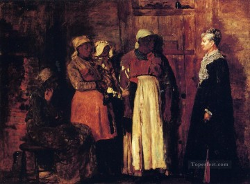 Winslow Homer Painting - A Visit from the Old Mistress Realism painter Winslow Homer