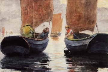 Winslow Homer Painting - An Afterglow Realism marine painter Winslow Homer