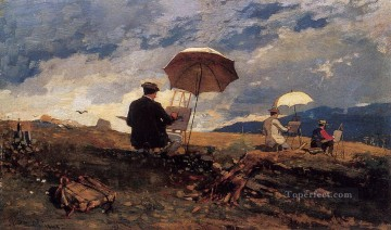 Artists Oil Painting - Artists Sketching in the White Mountains Realism painter Winslow Homer