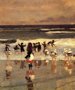 marine Oil Painting - Beach Scene aka Children in the Surf Realism marine painter Winslow Homer