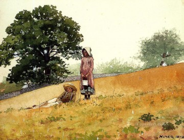 Winslow Homer Painting - Boy and Girl on a Hillside Realism painter Winslow Homer