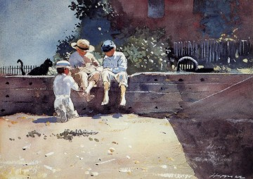 Winslow Homer Painting - Boys and Kitten Realism painter Winslow Homer