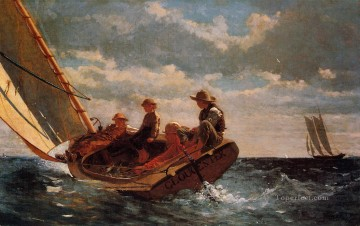 marine Oil Painting - Breezing Up aka A Fair Wind Realism marine painter Winslow Homer
