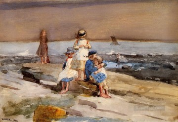 child Painting - Children on the Beach Realism marine painter Winslow Homer