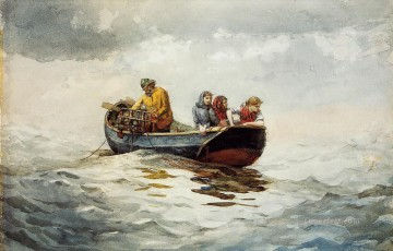 marine Canvas - Crab Fishing Realism marine painter Winslow Homer