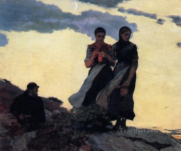 aka works - Early Evening aka Sailors Take Warning Realism painter Winslow Homer