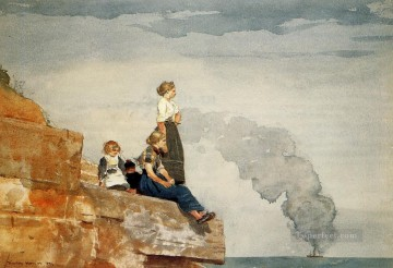 Winslow Homer Painting - Fishermans Family aka The Lookout Realism painter Winslow Homer