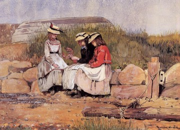 Girls Canvas - Girls with Lobster aka A Fishermans Daughter Realism painter Winslow Homer