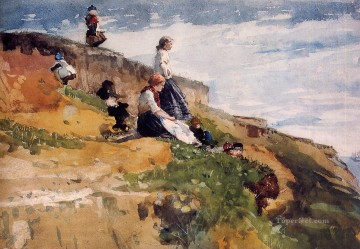 marine Canvas - On the Cliff Realism marine painter Winslow Homer
