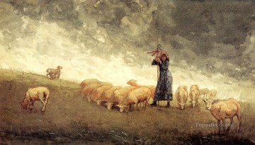 Shepherdess Tending Sheep Realism painter Winslow Homer Oil Paintings