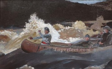 Winslow Homer Painting - Shooting The Rapids Realism marine painter Winslow Homer