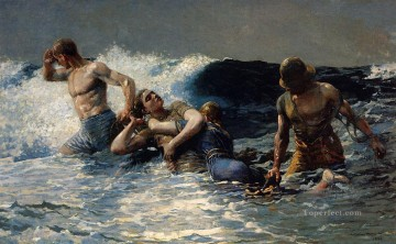 marine Oil Painting - Undertow Winslow Homer 1886 Realism marine painter Winslow Homer
