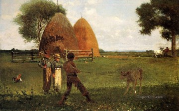 Winslow Homer Painting - Weaning the Calf Realism painter Winslow Homer