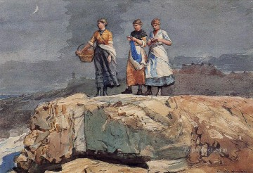 boat art painting - Where are the Boats aka On the Cliffs Realism painter Winslow Homer