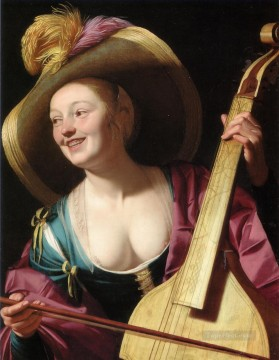 Night Art - A young woman playing a viola da gamba nighttime candlelit Gerard van Honthorst
