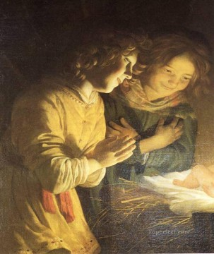 child Painting - Adoration Of The Child nighttime candlelit Gerard van Honthorst