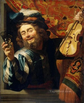 Fiddler nighttime candlelit Gerard van Honthorst Oil Paintings