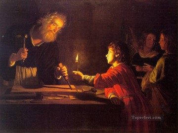 baptism of christ Painting - Childhood Of Christ nighttime candlelit Gerard van Honthorst
