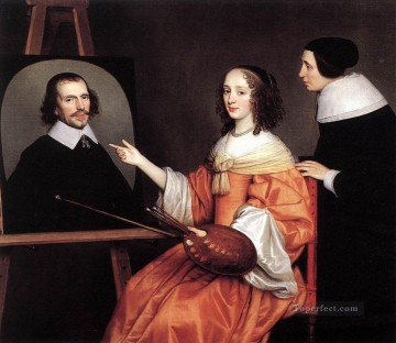 Maria Painting - Margareta Maria De Roodere And Her Parents nighttime candlelit Gerard van Honthorst