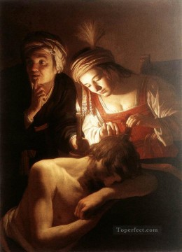 Night Art - Samson And Delilah nighttime candlelit Gerard van Honthorst