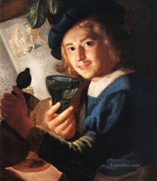Night Art - Young Drinker nighttime candlelit Gerard van Honthorst