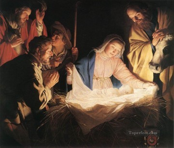 Adoration Art - Adoration Of The Shepherds nighttime candlelit Gerard van Honthorst