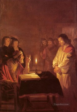 Christ Works - Christ Before the High Priest nighttime candlelit Gerard van Honthorst