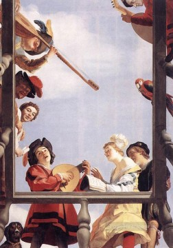 Night Art - Musical Group On A Balcony nighttime candlelit Gerard van Honthorst