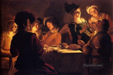 Night Art - Supper With The Minstrel And His Lute nighttime candlelit Gerard van Honthorst