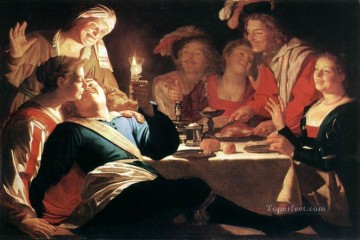 Night Art - The Prodigal Son 1622 nighttime candlelit Gerard van Honthorst
