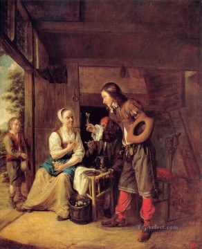 Glass Painting - A Man Offering A Glass of Wine to a Woman genre Pieter de Hooch