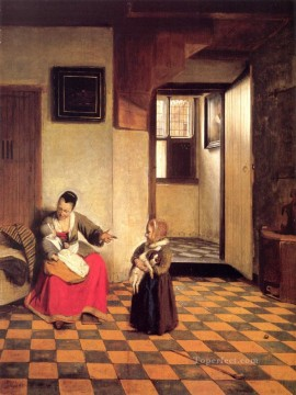 Pieter de Hooch Painting - A Woman with a Baby in Her Lap and a Small Child genre Pieter de Hooch