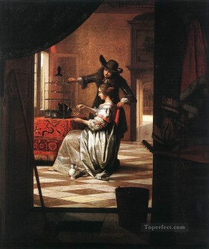Pieter de Hooch Painting - Couple with Parrot genre Pieter de Hooch