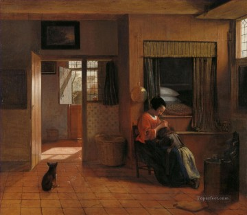 Mother Art - Interior with a Mother delousing her childs hair known asA Mothers duty genre Pieter de Hooch