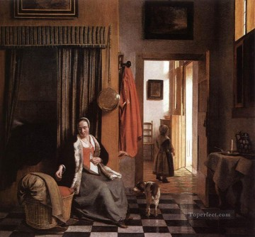Mother Art - Mother Lacing Her Bodice beside a Cradle genre Pieter de Hooch