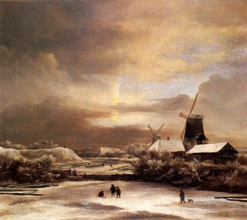 Ruisdael Jacob Issaksz Van Winter Landscape genre Pieter de Hooch Oil Paintings