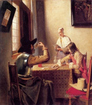 Pieter de Hooch Painting - Soldiers Playing Cards genre Pieter de Hooch