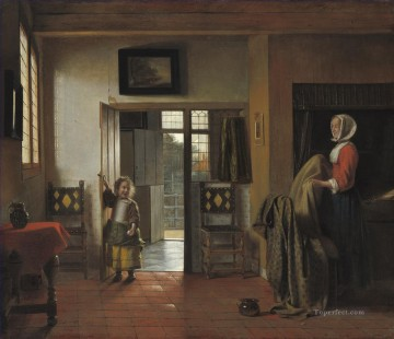 Pieter de Hooch Painting - The Bedroom genre Pieter de Hooch