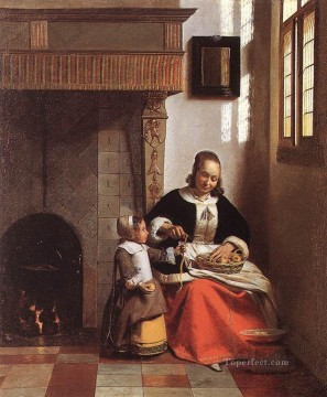 Peel Art Painting - Woman Peeling Apples genre Pieter de Hooch