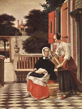 Pieter de Hooch Painting - Woman and Maid genre Pieter de Hooch