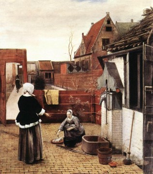 pieter bruegel Painting - Woman and Maid in a Courtyard genre Pieter de Hooch