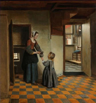 Pieter de Hooch Painting - Woman with a Child in a Pantry genre Pieter de Hooch
