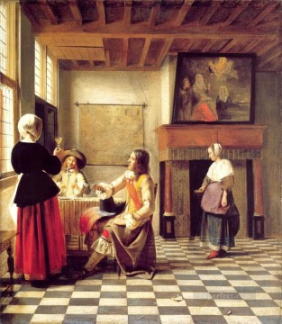 drinking - A Woman Drinking with Two Men and a Serving Woman genre Pieter de Hooch
