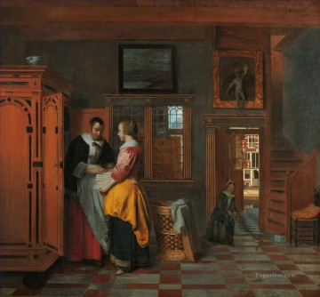 Pieter de Hooch Painting - At the Linen Closet genre Pieter de Hooch