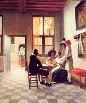 Pieter de Hooch Painting - Card Players in a Sunlit Room genre Pieter de Hooch