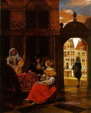 party Painting - Musical Party in a Courtyard genre Pieter de Hooch