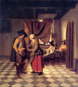 Pieter de Hooch Painting - Paying the Hostess genre Pieter de Hooch