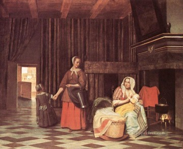 Mother Art - Suckling Mother and Maid genre Pieter de Hooch