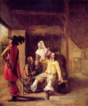 Pieter de Hooch Painting - Two Soldiers and a Serving Woman with a Trumpeter genre Pieter de Hooch