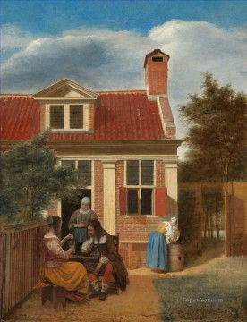 Village House genre Pieter de Hooch Oil Paintings